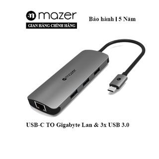 Cổng Chuyển Đổi Mazer USB-C to USB3.0 X3 + Gigabyte Lan Adapter