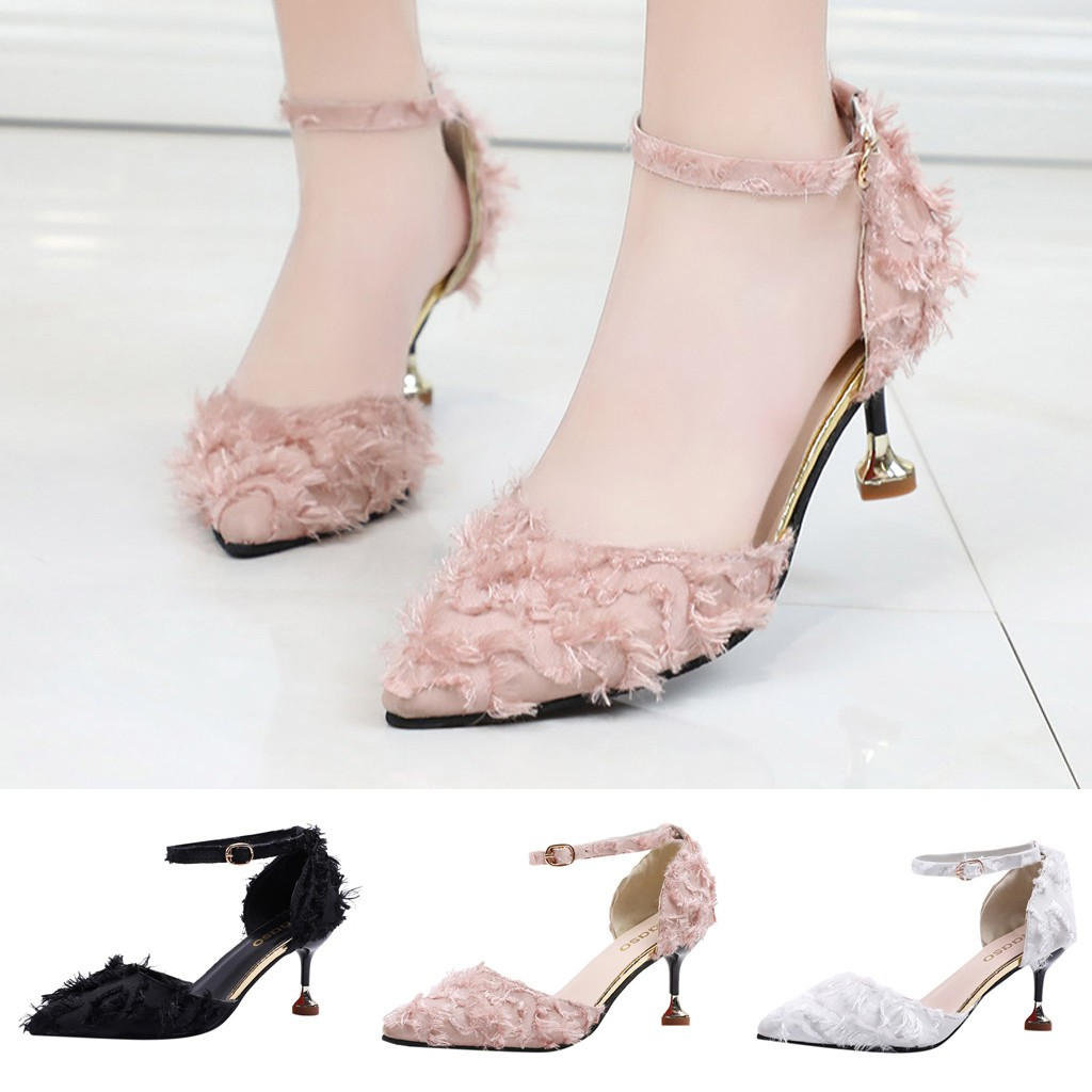 Women Pointed Suede High Heels Wild Single Shoes Stiletto Hollow Female Sandals