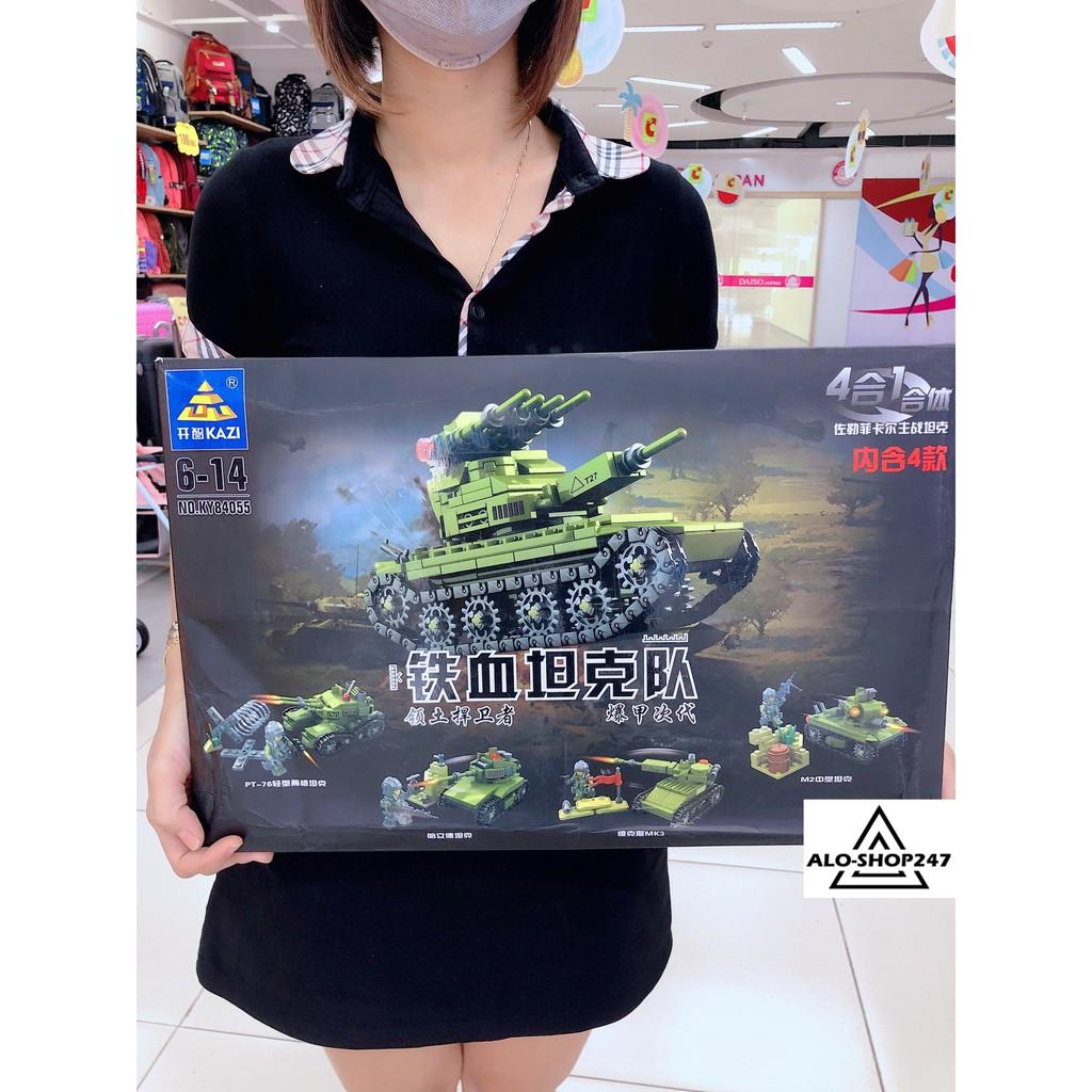 Đồ chơi lắp ghép Lego xếp hình xe tăng chiến đấu KAZI – KY84055 4 IN 1 với 629 mảnh ghép