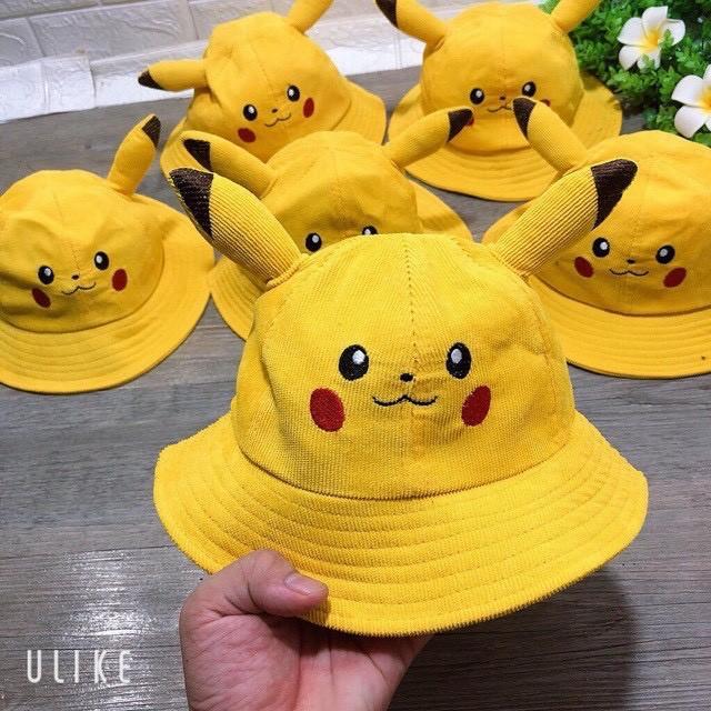 Mũ nón tai bèo Pikachu bé gái bé trai 2-4 tuổi có dây