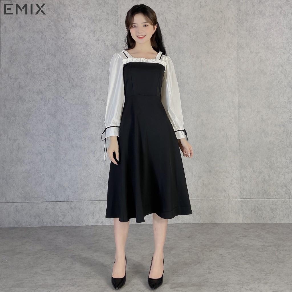 Mặc gì đẹp: Sang trọng với Đầm công sở nữ cổ vuông tay trắng nơ EMIX (màu đen), dáng dài, tay bồng, voan xốp có lót dày dặn, mềm mịn, không lộ