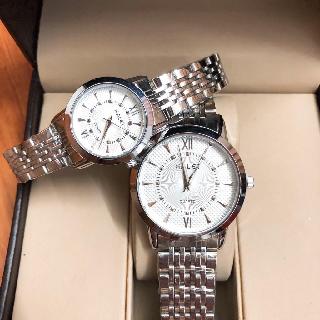 Cặp đồng hồ nam, nữ Halei dây trắng mặt trắng thời thượng