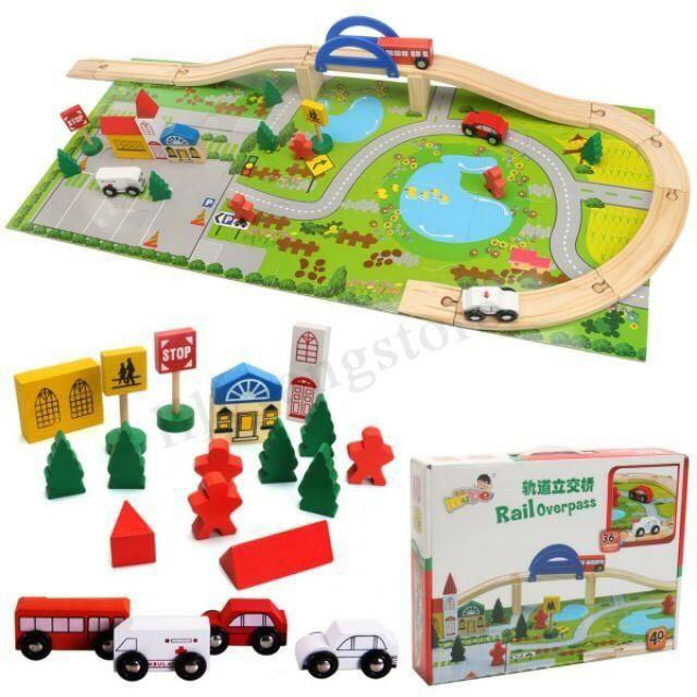 Bộ đồ chơi gỗ mô hình giao thông đường ray cho bé