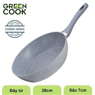 Hình ảnh Chảo đáy từ vân đá chống dính GREEN COOK 22 - 24 - 26 - 28 - 30 cm tay cầm chịu nhiệt - Hàng chính hãng-0