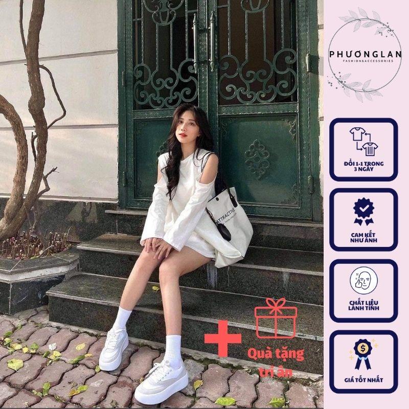 Áo khoét vai 🌸 Áo nữ kiểu dài tay thu đông style Hàn Quốc tiểu thư PHULA dành cho nữ 3 màu VÀNG ĐEN TRẮNG