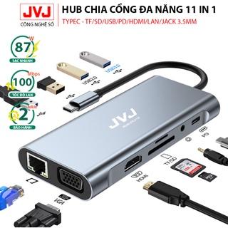 Bộ chuyển đổi Hub Type-C JVJ BYL-2110 C11 đa năng 11in1 sang HDMI 4k, VGA, USB-C 3.0 Type C 3.5mm Bh 2 năm thumbnail