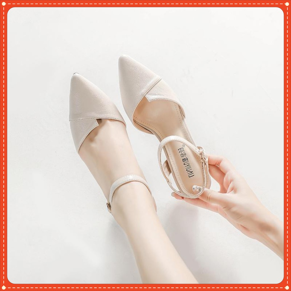 Giày 3 phân mũi nhọn (1 KIỂU) màu kem P1A