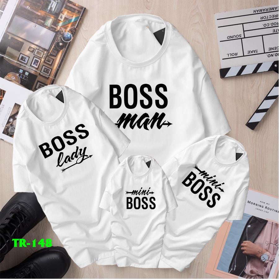 Combo 4 áo thun gia đình in chữ BOSS MAN , BOSS LADY , MINI BOSS TR - 148