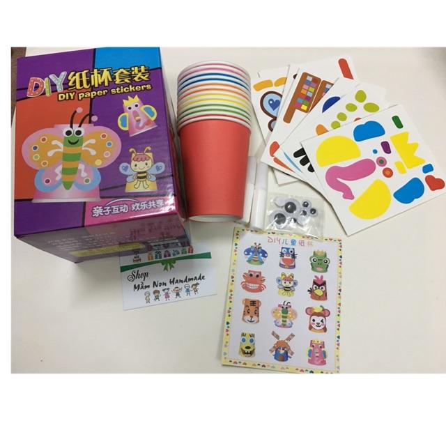 Set 10 cốc giấy + hình trang trí cho bé