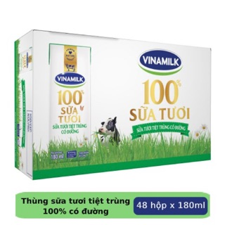 Sữa tiệt trùng Vinamilk (date xa) thùng 48 hộp 180ml