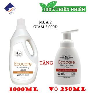 [ Ecocare] Nu o c rư a tay ta o bo t Hư u cơ 1000ml, Nươ c rư a tay diê t khuâ n tinh dâ u tư nhiên thumbnail