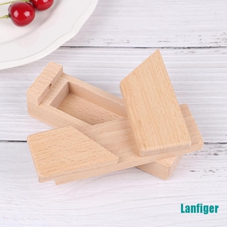 【Lanfiger】Wooden Brain Teaser Secret Opening Puzzle Box Magic Mysterious Box Gift Box