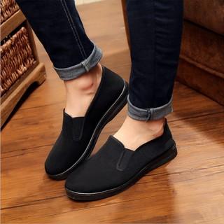 Giày lười nam vải bố màu đen
