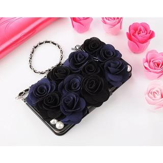 Bao da điện thoại Samsung galaxy Note 8 5 4 dạng ví trang trí hoa hồng cầm tay thời trang cho nữ
