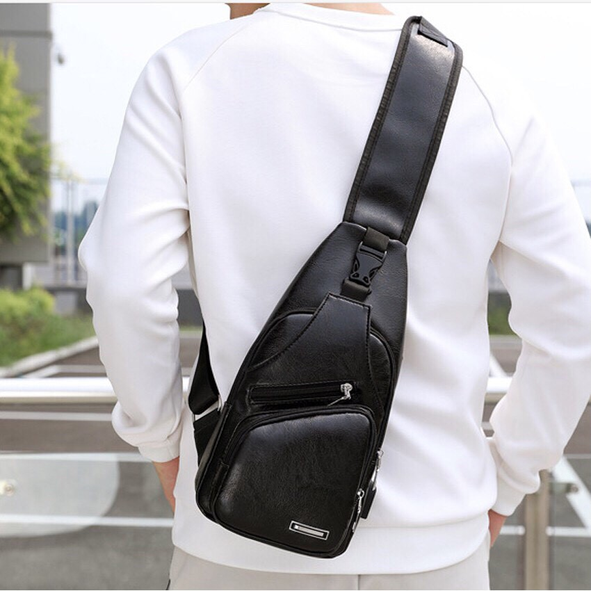 [Tặng vòng tay] Túi đeo chéo nam nữ VARADO TX001 đeo ngực nam da cao cấp cổng sạc BH 44 thời trang sành điệu