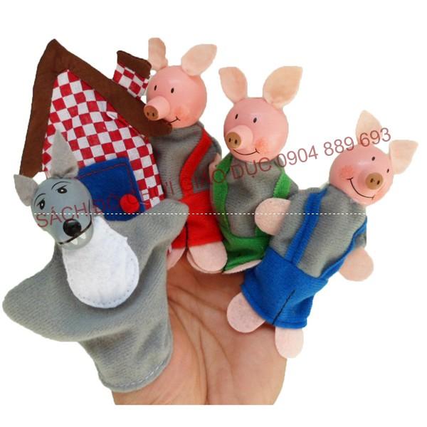 Rối ngón tay 3 chú lợn con có ngôi nhà