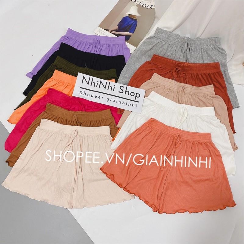 Quần short thun xòe trơn cạp chun, Quần ngủ vải cotton mịn mát co giãn QS0755 - NhiNhi Shop