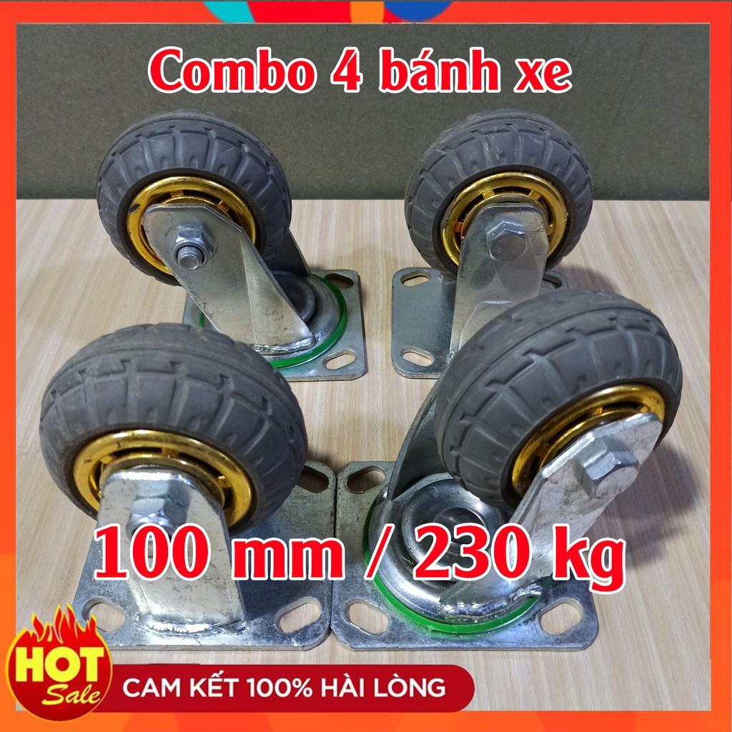 [GIÁ SHOCK] - BỘ 4 bánh xe đẩy cao su 100mm - tải 230 kg