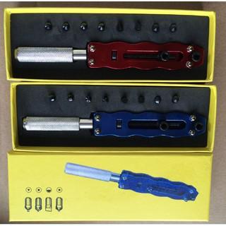 [    Hot Hot     ]Dụng cụ mở nắp lưng kèm 8 ốc thay thế dành cho tất cả đồng hồ vặn ren, nhôm hợp kim cao cấp