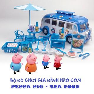 Đồ chơi xe cắm trại nấu ăn gia đình 4 chú heo Peppa cute