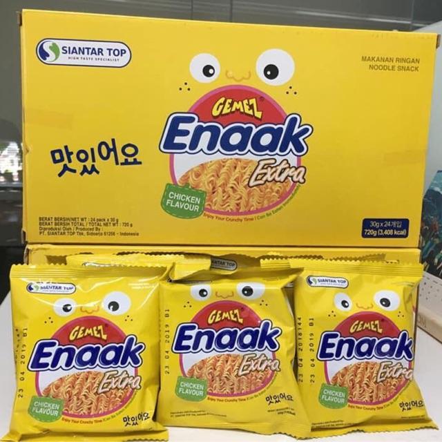 [ Hộp mì snack ăn liền Malaysia] Hộp mì ăn liền tẩm gia vị Gemez Enaak Ectra Chicken ( vị gà)_ 24 gó