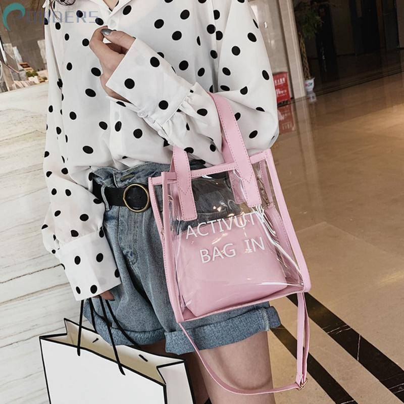 Túi xách bằng nhựa trong suốt 2 trong 1 phong cách Hàn Quốc thời trang