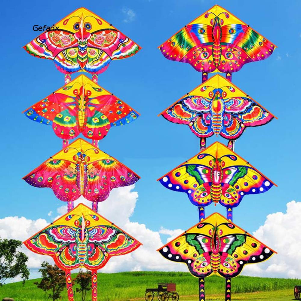 GEFX_Outdoor Colorful Butterfly Flying Kite with Winder String Children Kids Toy