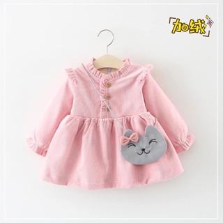 váy nhung babe doll hồng cho bé ( không kèm túi )
