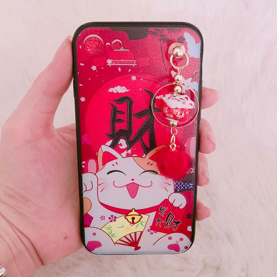 Ốp iPhone 7 / iPhone 8 mèo thần tài có lục lạc < 4.7 >