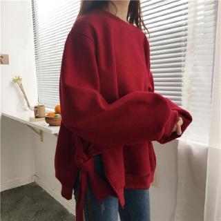 Áo Hoodie Xẻ Tà Đính Nơ Thời Trang Hàn Quốc