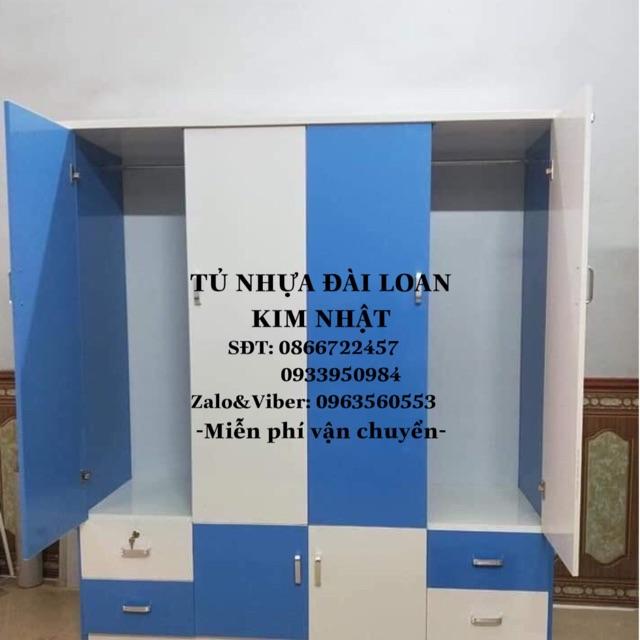 Tủ nhựa Đài Loan 4 cánh trắng xanh freeship tphcm