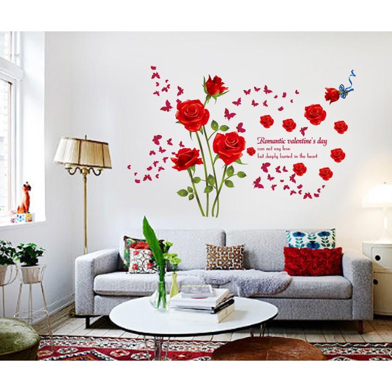 """Decal dán tường """"Hoa Hồng Và Bướm"""" – WD017"""