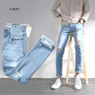 Quần jean nam rách gối xanh nhạt skinny QJRO003 của Routine Ankhang Shop