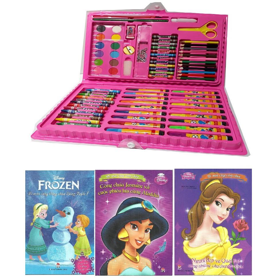 [FreeShip từ 150K] Bộ mầu 86 chi tiết xanh/ hồng +3 vở tập tô công chúa/siêu nhân cho bé gái/bé trai