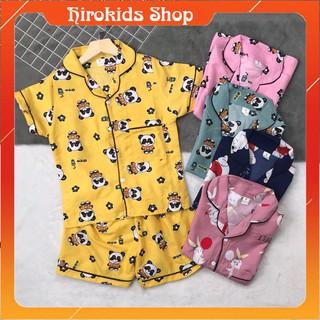 Bộ đồ ngủ pijama kate tay ngắn quần đùi họa tiết xinh xắn cho bé gái (20-38kg)