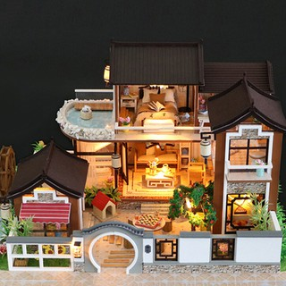DIY Wooden Doll House Miniature Kit Ancient Architecture Dollhouse Toy