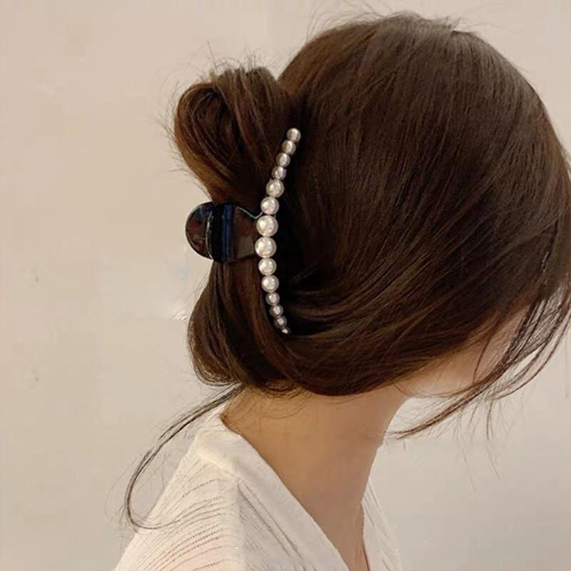 Kẹp tóc càng cua kim loại đính đá/hạt châu cao cấp HOT TREND