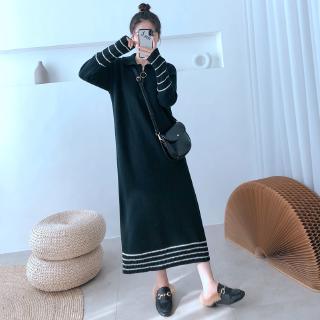 Đầm Nữ Dài Tay Cổ Bẻ Sọc Vằn Thời Trang Hàn