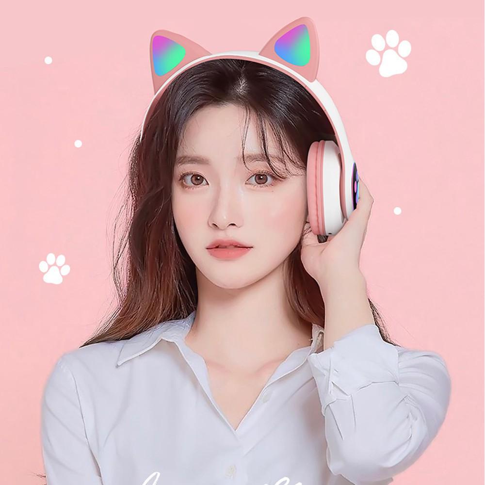 [GIÁ CỰC SỐC ] Tai nghe mèo kết nối bluetooth có đèn LED phát sáng model BT28 sản phẩm HOT 2021