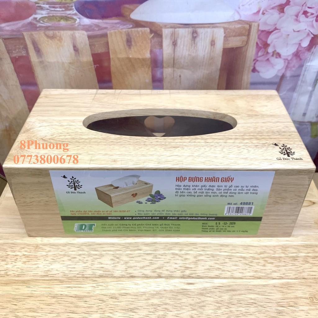 Hộp gỗ đựng khăn giấy gỗ Đức Thành 49881 - Hộp đựng khăn giấy Gỗ Đức Thành lỗ trái tim