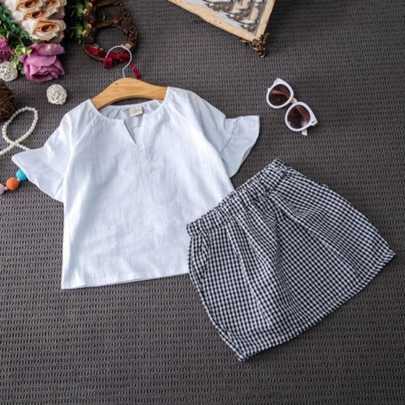1462318284 - Bộ áo tay ngắn màu trơn và đầm ngắn kẻ sọc xinh xắn cho bé gái
