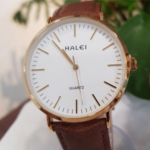 Đồng hồ nam Halei dây đen da mặt số vạch viền vàng chính hãng Tony Watch 68