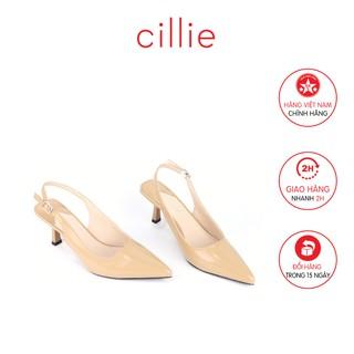 Giày cao gót nữ mũi nhọn hở hậu Cillie 1201