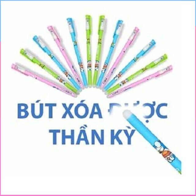 (Hàng chọn lọc)Hộp 12 cây bút bi Doraemon viết xong xóa được đủ màu cao cấp nhất