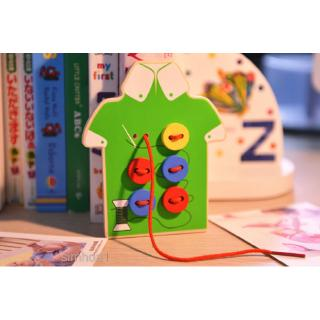 Kids Wooden Threading Button Beads Lacing Board Educational Toy Green