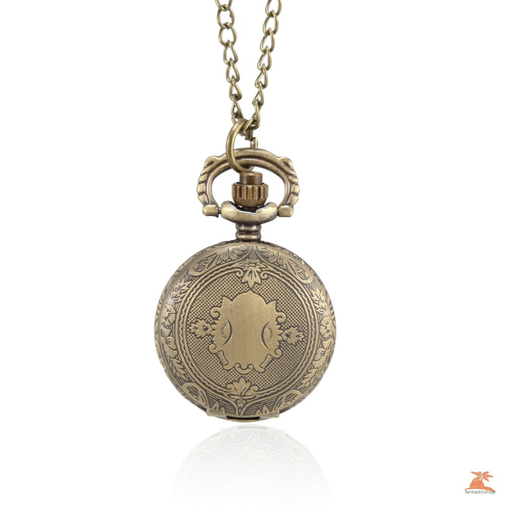 #Đồng hồ bỏ túi# 1pc Men Women Pocket Watch Vintage Shield Carved Case with Chain