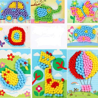 Pompon Paintings Colorful Plush Ball Stickers Kid Educational DIY Handmade Toy