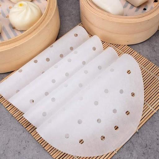Giấy nến tròn đục lỗ dùng lót nồi chiên không dầu (50 tờ) - hàng Việt Nam chât lượng cao