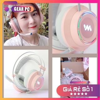 Tai nghe gaming màu hồng Wangming 9800s pink Âm Thanh 7.1 Jack USB Chính Hãng- Máy Tính Báo Hồng thumbnail