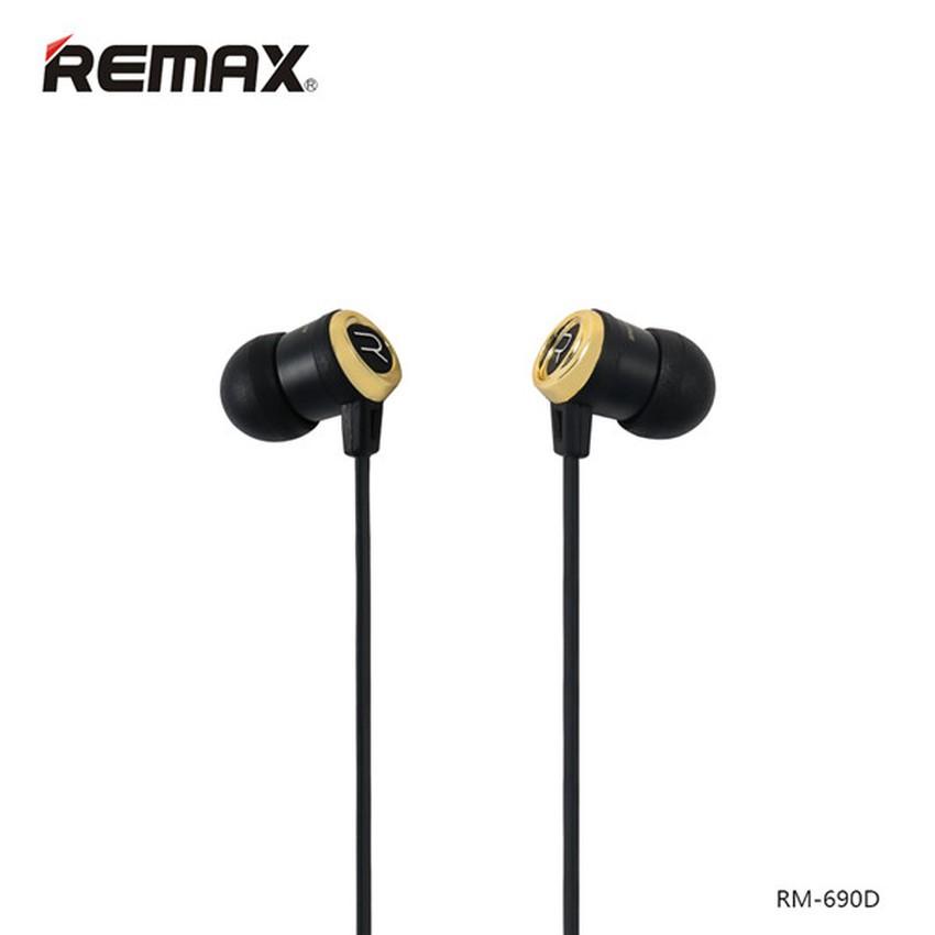 Tai nghe nhét tai REMAX RM-690D (Đen phối vàng)